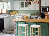 I want new cabinets! Well, I can't have new cabinets, but perhaps with some creative inspiration I can change the look of my colonial oak cabinets and the dated backsplash...