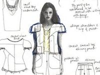 A peek into the sketchbooks & journals of fashion designers and the fashion design creative process :: exploring design ideas and themes through sketches, layout and collage. Design is all about creative expression...