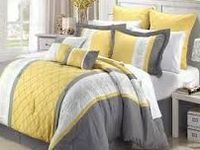 These yellow and gray bedding sets showcases a perfect updated, modern design in your bedroom.