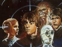 A long time ago, in a galaxy far, far away...  Star Wars is an American epic space opera franchise centered on a film series created by George Lucas. The film series, consisting of two trilogies, has spawned an extensive media franchise called the Expanded Universe including books, television series, computer and video games, and comic books.