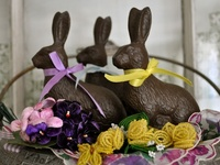 chocolate bunnies and glitter eggs...
