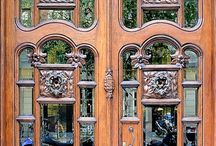 Doors/Doorwys-wood/glass&/or metal / with windows,filigree,enamel,gilded,art nouveau,art deco,stained etched & leaded glass, / by Jerri Oyama