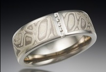 Diamond Accented Mokume Bands / by Krikawa Jewelry Designs