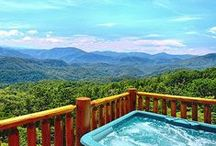 Gatlinburg Cabins with Hot Tub / Relax in your private hot tub on the porch of your Gatlinburg cabin, with all luxury amenities, in the midst of the Smoky Mountains of Tennessee. http://www.CabinsOfTheSmokyMountains.com  / by Cabins Of The Smoky Mountains