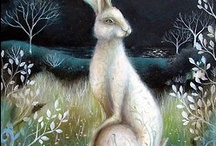 RABBITS  (Bunnies) & HARES / Rabbits (or, colloquially, bunnies) are small mammals in the family Leporidae of the order Lagomorpha, found in several parts of the world. The rabbit's long ears can be more than 10 cm (4 in) long and they have large powerful hind legs. ~~ HARES Hares are mammals, they give birth on the ground or dig a hollow place. Hares are brownish gray with a white belly. They can give birth to up to five young at one time. They feed at night and at dawn. They thump on the ground to alert danger. / by Kaye