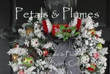 Christmas Wreaths- Petals & Plumes Hat n' Boots Character Wreaths ©2013 / Here is a selection of past work and upcoming pieces.  All pieces for Petals & Plumes are copyright protected.
