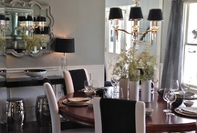 MY DINING ROOM IN GRAY, BLACK AND WHITE  / Designer dining room / by South Shore Decorating