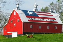 Country Patriotic Barns / While persuing this board, if you notice a duplicate pin, PLEASE comment it to me. I will delete the offender. I dislike repeating myself but sometimes it happens. It really shows county pride when a barn stands proud and true in red white and blue / by Christa Gettys