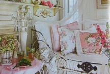 "Shabby Chic Design ❖ / Victorian home decor with a somewhat tattered but functional Shabby White Wash creating a soothingly comfortable space - Most examples with cottage rose decals and design combined with Lace, Pearls and Crystals in the true nature of ""Shabby Chic"" decor.  / by Lisa DeHart"