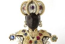 BLACKAMOOR / Blackamoor figures (Italian moretto, moretti) are depictions of dark-skinned Africans used in sculpture, jewelry, armorial designs and decorative art. / by Gladys Bagley
