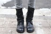 ROCKER DUDS / rock the rocker chic look with edgy tough boots.  / by Shoeline.com ♥