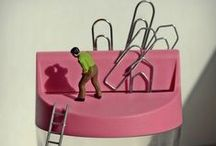 Bettina Güber's - Office Life   Small People  / German artist who cleverly combines tiny figurines with stationery supplies to create a miniature world 'beyond our everyday objects or our working environment.' / by NoteMaker.com.au