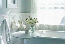 storage packed white cottage bath / by Kim Alberts
