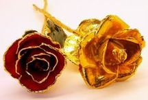 Gold Dipped Roses / Gold Dipped Roses and Gold Trimmed Roses in a variety of styles and colors. / by Arttowngifts.com