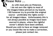 Please Note -  About These Pins / by Lori Dube'