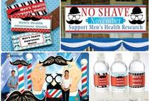 Mustache Party Ideas / Many guys go the entire month without shaving, or at least grow a Mustache to call attention to Mens Health Awareness Month in November! Join them!! or just throw your own Mustache Party for Fun! / by Shindigz