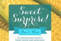 Sweet Surprise Sweeps! / Pin any one of our spring sweet corn recipes for a chance to win a $250 gift card or pin your favorite spring sweet corn recipe and tag with #sweetsurprisesweeps! / by FreshSupersweetCorn