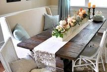 wining & dining / ideas for the dining room. harvest tables, Comfy benches, fun dining room tables & chairs / by Kirsten Johnson