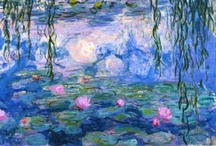 """CLAUDE MONET / Claude Monet was born on November 14, 1840, in Paris, France. He enrolled in the Academie Suisse. After an art exhibition in 1874, a critic insultingly dubbed Monet's painting style """"Impression,"""" since it was more concerned with form and light than realism, and the term stuck. Monet struggled with depression, poverty and illness throughout his life. He died in 1926. / by Patricia Mock"""