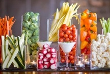 Fruit & Veggies   / Crudites - I ALWAYS have these at parties for those of us that love to eat but need to watch our calories.  My current favorites are the individual cups and the vertical veggie trays. / by Toni Frizell