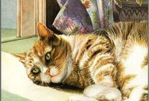 """Cats in Art  / Cats in Art and Illustration - 1980's through Present Day -  Please check out my other boards: Paw Prints I and II for vintage cat art. Disclaimer: These are just """"PINS"""". I don't claim copyright or ownership of any content on this board. / by Terri Klugh"""