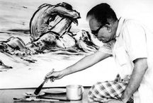 Zainul Abedin-Great Teacher of the Arts / ainul Abedin ( December 29, 1914 – May 28, 1976) was a Bengali painter. He got the break through in 1944 with his Famine Series paintings of 1943. He was rightly considered the founding father of Bangladeshi art. He was an artist of exceptional[peacock term] talent and international repute. Like many of his contemporaries, his paintings on the Bengal famine of 1940s is probably his most characteristic work.  / by Flowing Events