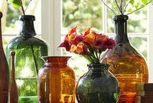 "COLLECTION OF VASE ACCENTS / Something about a collection of vases just adds a softness to a room and gives it that ""come in and relax"" feel! Makes a house a home. :) / by Leslie Janney"
