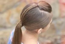 Hair.  All-up ponytails, pigtails, and buns. / These are hair styles that are all up and out of the face, ideal for days little girl has PE or some other sports activity. / by Kat Weibel