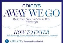 Chico's Pin to Win  / Pack Your Bags and Pin to Win! Share your dream adventure - and all the fabulous styles you'd pack for the trip. Our President, Cinny Murray, will select the three most amazing boards to win one of three unforgettable prizes. Away we go...      #WildAbout30 / by Love Chico's