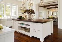 Kitchens ~ Islands / Islands:  from atolls to continents, kitchen islands come in all shapes, sizes and budgets.  Not peninsulas (which are attached at one end) because you can walk all around an island.  May be stationary cabinetry with power, and possibly plumbing or appliances.  They may also be a mobile cart or just an eat-in kitchen table that serves as extra work surface when needed.  Important issues regarding islands include size and distance between other countertops. / by PamDesigns 3D