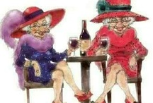 Red hat society:   Aging with humor and style! / Women having fun, doing it their way. / by Sandy Bianco