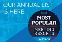 100 Most Popular Meeting Resorts 2014 / Cvent's 100 Most Popular Meeting Resorts in the North America and the Caribbean. Cvent evaluated more than 3,500 properties in the United States, Canada, Caribbean, Bermuda and Mexico featured on the Cvent Supplier Network to compile the second annual list. The selection of these 100 resorts was determined by activity tracked between August 2013 to July 2014 and by a combination of quantitative metrics and third party review scores. / by Cvent
