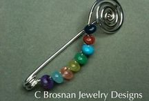Pins for sweater's, shawls, and coats / handmade, jewelry, crystals, art, turquoise, copper, silver / by Constance Brosnan
