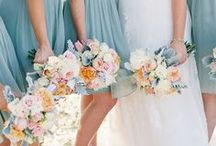 Dusty Blues & Soft Peach Weddings / A little bit of a twist on the soft pastel look! Dusty blues. Soft peaches. Moss and Gold. / by Michael C. Fina
