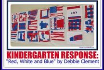 """""""Red, White & Blue"""" picture book / This collection is to give ideas and support to those who use my picture book, """"Red, White and Blue"""" which is based on the text of my song I wrote by the same name, immediately after September 11th. The book won a national INDIE Award of Excellence!! I made the illustrations from fabric as small representational quilts. Starting with flag images and ending with fireworks -- this is a picture book to celebrate all things Americana + community helpers/fireman + 911 ideas. / by Debbie Clement"""