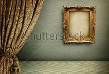 Vintage Frames / A frame is a decorative edging for a picture, such as a painting or photograph, intended to enhance it, make it easier to display, or protect it. / by Shutterstock