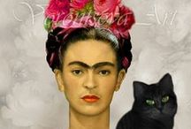 Frida Love ❤️  / She walks in beauty like the night of cloudless climes and starry skies; And all that's best of dark and bright, meet in her aspect and her eyes: Thus mellowed to that tender light which heaven to gaudy day denies. —Lord Byron / by Amy Bonetti Price