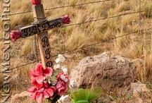 Descansos / Descansos (Spanish for 'Place of Rest) stand as symbols for life, love, remembrance and celebration. They are protected by law in New Mexico. / by sadie crandle