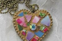 Pique Assiette Mosaic Ornaments and Pendants / Pendants made from antique china shards and vintage jewels. / by Melissa's Motifs