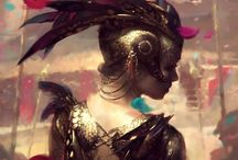 Illustration Fantasy / #illustration #design #fantasy #legend #warrior #witch #elf #digital #CG #concept #2d-digital #sketch #sci-fi #artwork #art #painting #digital-art #character #dragon #fairy #game / by Kaorie Lilyse