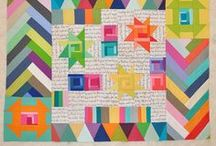 Circle 7 Traveling Quilt Bee / A Modern Quilting Bee Inspiration Board. My quilt will be low volume and text prints paired with solids.  / by Jennifer Mathis (Ellison Lane: Modern Sewing & Design)