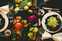 PROJECT // dark tabletop / our tabletop shoot. dark tabletop items accented with coppers and golds + saturated florals and fruits of the season. florals will be a DIY element. overall feel should still be fairly natural - not too glam. would rather see copper over gold. not too regency, but there can be small elements of it. / by c. l.
