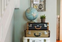 Decor {Travel, Vintage Suitcases, Maps, Globes, Cameras} / The Santees LOVE to travel the world, and we're working on bringing travel elements into our home décor!  Vintage suitcases, maps, cameras, etc. / by Amanda Santee