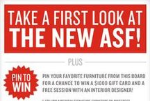 First Look Sweepstakes  / Introducing our new catalog, First Look. To celebrate, we're inviting you to take part in our Pinterest sweepstakes. Pin your favorite furniture from this board to your page and include the hashtag #NewASF for a chance to win a $1000 gift card and two hours with an interior designer.  / by American Signature Furniture