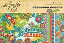 Bohemian Bazaar / Wander through a lush landscape of brilliant color and exotic patterns with Bohemian Bazaar!  This new collection from Graphic 45 will include 8 double-sided papers, 1 hybrid alphabet & sticker sheet, 1 sheet of chipboard tags, cardstock tags and pockets, and 8x8 and 12x12 paper pads that will have three of each sheet, a total of 24 sheets.  / by Graphic 45®