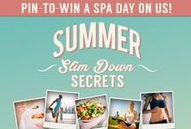 Summer Slim-Down Secrets / Spa Week Summer Slim-Down Secrets Contest! *ORIGINAL CONTEST PIN* -- Add the link to your boards on this pin for a chance to win a spa day on us! #SpaWeekSlimDown Summer Slim-Down Secrets - 07.31.2014  / by Monica Kim