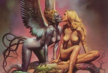 Boris Vallejo / works almost exclusively in the fantasy and erotica genres.. his hyper-representational paintings have graced the covers of dozens of science fiction paperbacks.. subjects of his paintings are typically sword-and-sorcery gods, monsters, and well-muscled male and female barbarians.. some of his male figures were modeled by Vallejo himself, and many of his later female characters were modeled by his wife.. unique style.. / by Sasha Sotirov