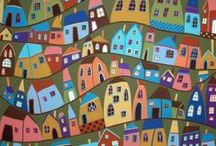Art--Little Houses on the hill side, little houses made of ticky tacky / by Mickey Betz