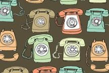 Art--Phones / I started working at the phone company in 1978. I was an operator and we used the cord boards shown below. We had to sit there with a cord in our hand ready to plug into a socket for a call....changed depts. before the new cordless boards came into use... / by Mickey Betz