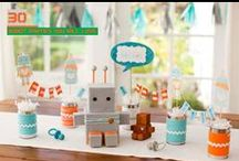 Boy's Robot Birthday Party / robot | boy | birthday | party | ideas | cake | decorations | themes | supplies | favor | invitation | cupcakes  / by Spaceships and Laser Beams